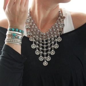 Jewelry - Bohemian Turkish Silver Coin Necklace